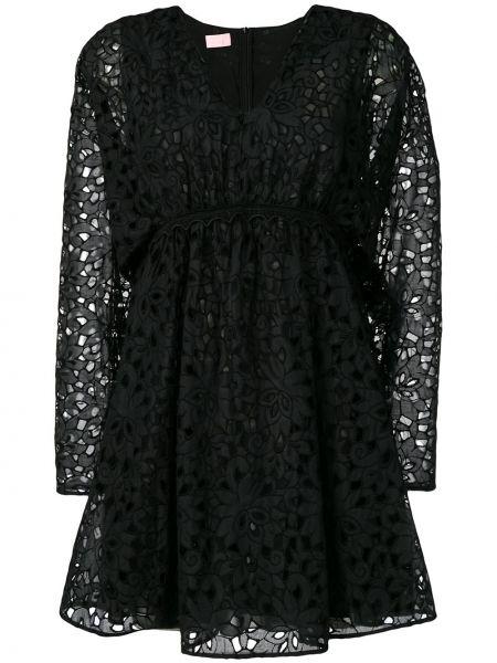 Czarna sukienka mini z długimi rękawami bawełniana Giamba