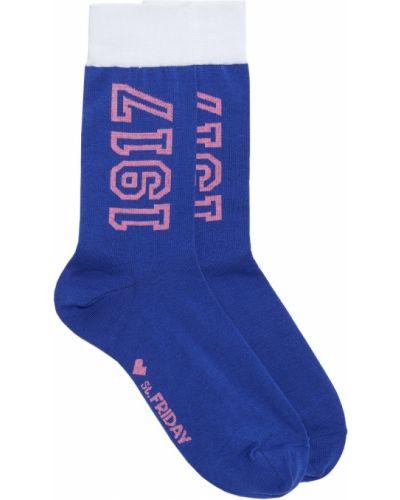 Хлопковые синие носки с надписью Artem Krivda