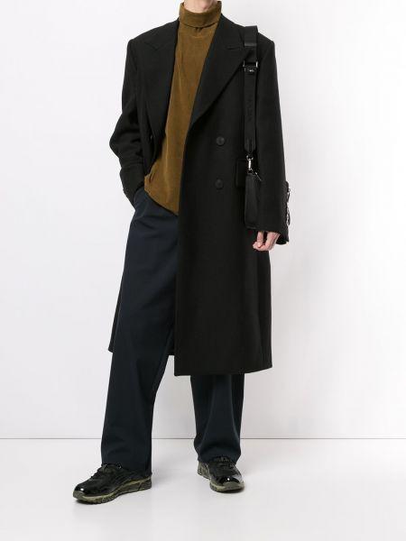 Деловое черное шерстяное длинное пальто на пуговицах Wooyoungmi