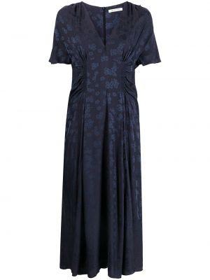Шелковое с рукавами синее платье мини Masscob