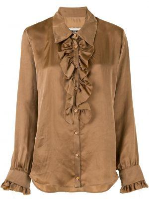 Коричневая с рукавами классическая рубашка с воротником Uma Wang
