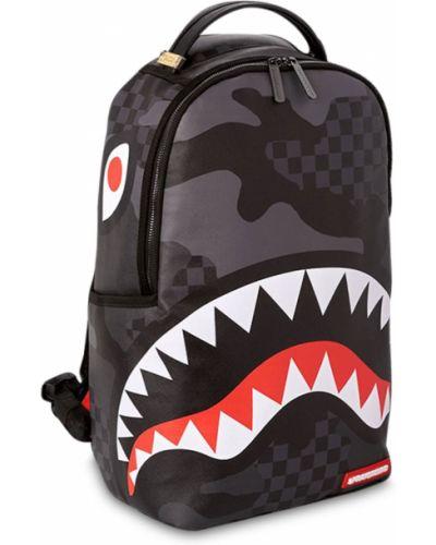 Czarny plecak skórzany z printem Sprayground