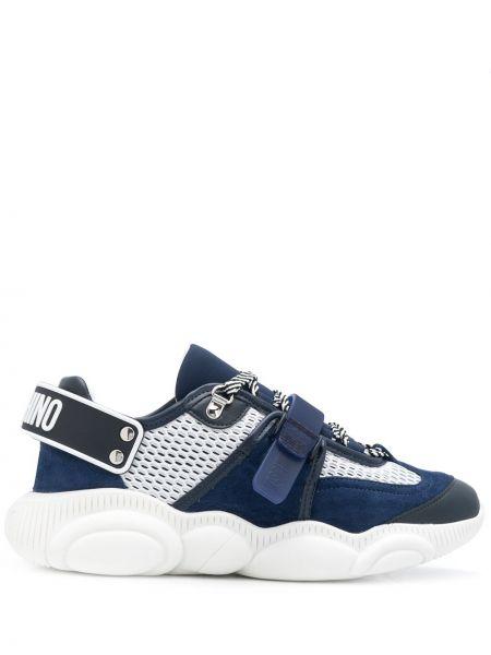 Niebieskie sneakersy skorzane sznurowane Moschino