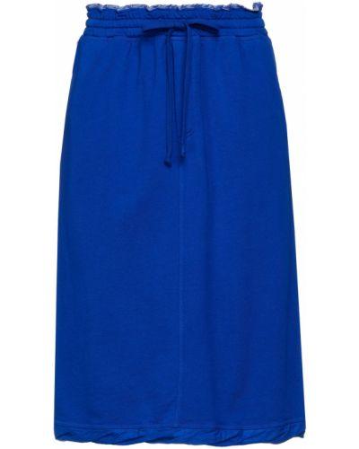 Юбка миди с карманами - синяя Clu