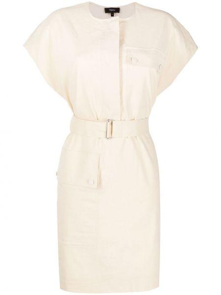 Льняное платье с короткими рукавами круглое Theory