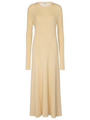 Шерстяное платье миди - бежевое Jil Sander
