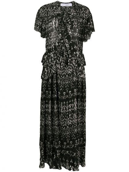 Расклешенное платье мини прозрачное с разрезами по бокам с рисунком Iro