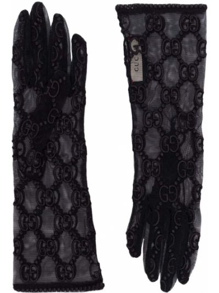 Czarny ażurowy rękawiczki na sznurowadłach Gucci