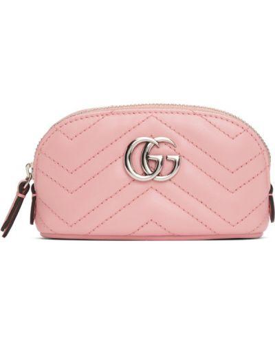 Różowy torebka na łańcuszku z łatami prążkowany z prawdziwej skóry Gucci