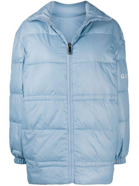 Z rękawami niebieski pikowana kurtka z mankietami z ozdobnym wykończeniem Givenchy