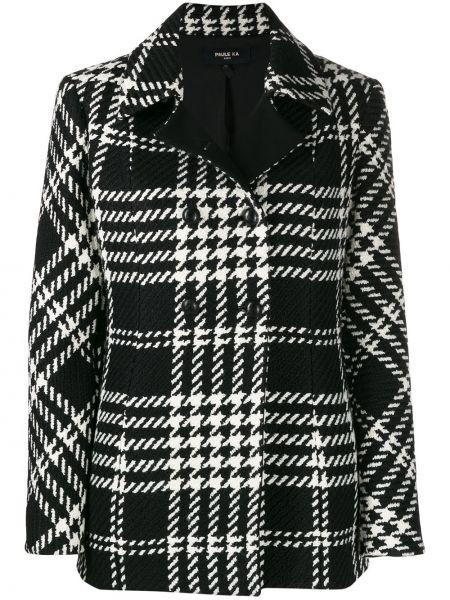 Шерстяное черное длинное пальто с воротником Paule Ka