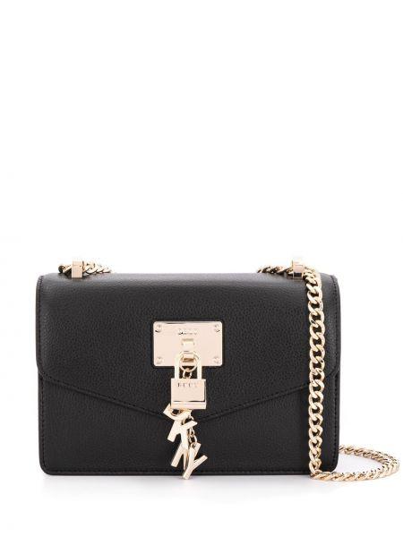 Кожаная черная маленькая сумка на молнии с карманами Dkny