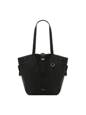 Черная кожаная сумка шоппер Furla
