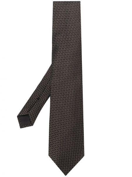 Шелковый коричневый галстук с декоративной отделкой Tom Ford