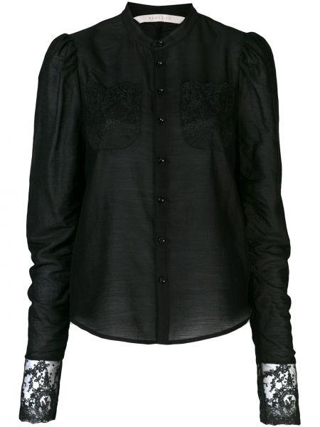 Шерстяной черный топ с вышивкой на пуговицах Renli Su