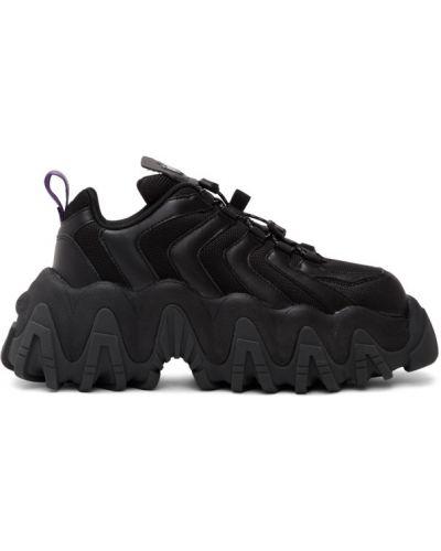 Парусиновые черные кроссовки на каблуке сетчатые Eytys