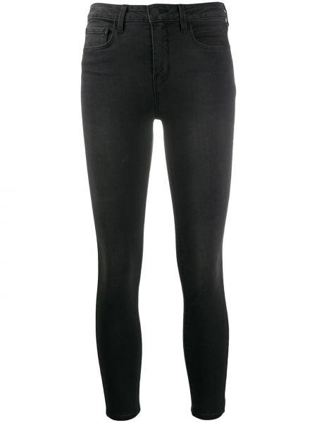 Хлопковые черные укороченные джинсы эластичные на молнии L'agence