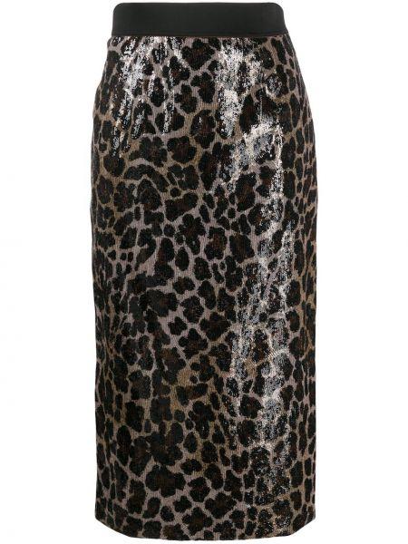 Коричневая с завышенной талией юбка карандаш с пайетками на молнии Antonio Marras