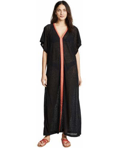 Трикотажное черное платье макси с вышивкой Pitusa