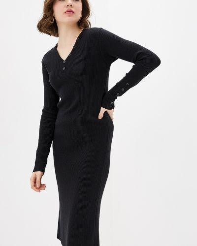 Платье миди в рубчик - черное Sewel