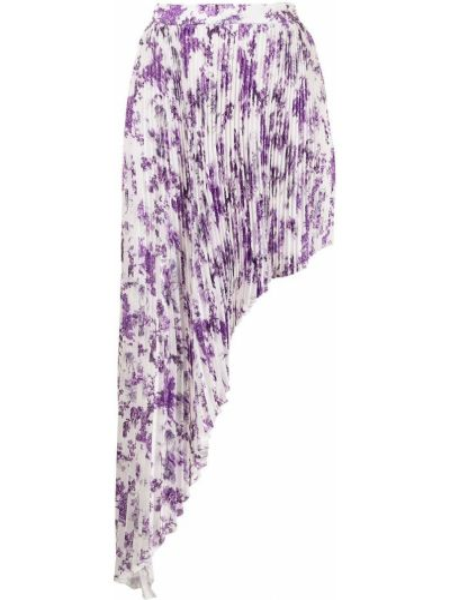 Biała spódnica plisowana w kwiaty z printem Wandering