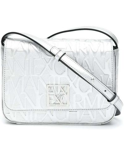 Серебряная сумка через плечо металлическая с карманами Armani Exchange