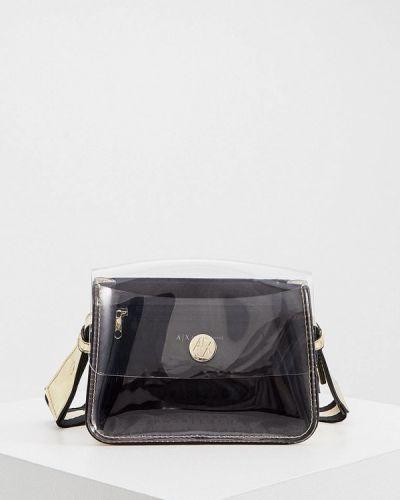 Черная кожаная сумка через плечо Armani Exchange