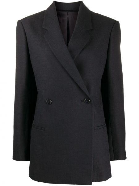 Прямой черный удлиненный пиджак с карманами Toteme
