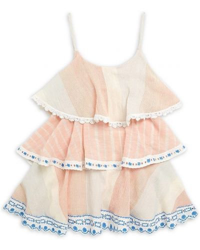 Хлопковое розовое платье с подкладкой без рукавов Hemant And Nandita