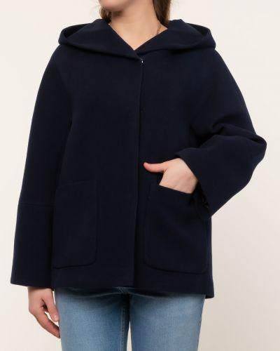 Прямая синяя короткая куртка с капюшоном каляев