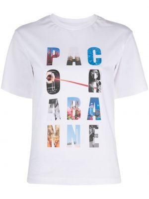 Хлопковая с рукавами белая рубашка Paco Rabanne