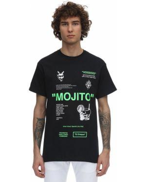 Czarny t-shirt bawełniany z printem Taboo