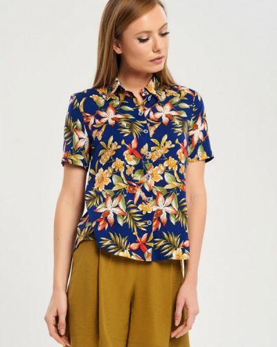 Блузка с коротким рукавом синяя весенний Akimbo