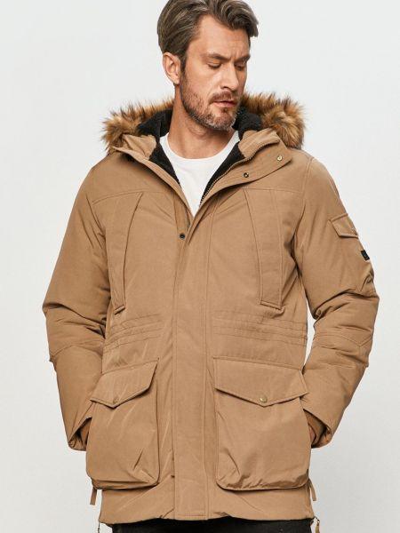 Бежевая куртка с капюшоном из искусственного меха Jack & Jones