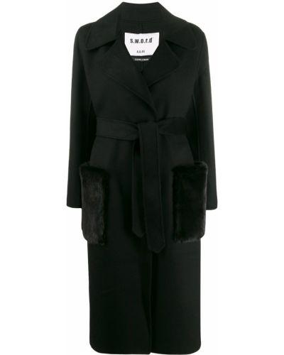 Шерстяное черное длинное пальто с поясом S.w.o.r.d 6.6.44