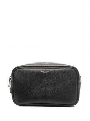 Skórzany czarny torba kosmetyczna Saint Laurent