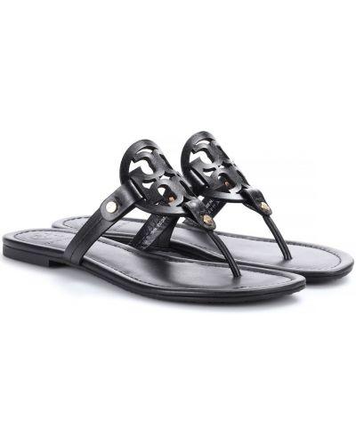 Кожаные сандалии - черные Tory Burch