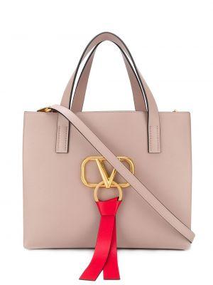 Розовая кожаная сумка-тоут квадратная Valentino