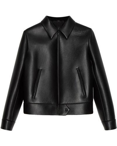 Кожаная куртка черная на молнии Prada