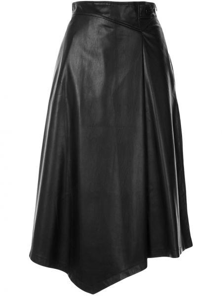 Czarna spódnica midi skórzana z wysokim stanem Loveless