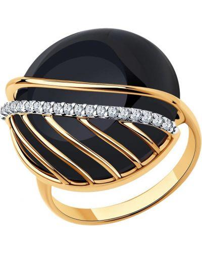 Черное кольцо металлическое с агатом позолоченное Sokolov