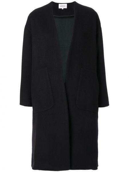 Długi płaszcz wełniany - czarny Enfold