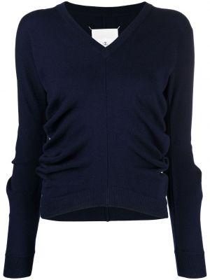 Синий пуловер с V-образным вырезом с заплатками Maison Margiela
