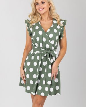 Платье с поясом в горошек с запахом Liza Fashion