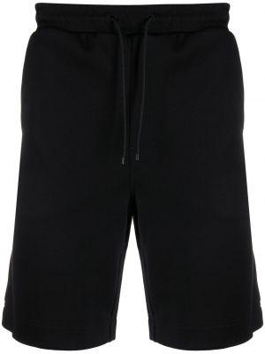 Хлопковые черные шорты с карманами Boss Hugo Boss