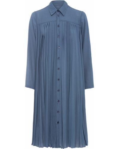 Плиссированное серое с рукавами платье Bonprix