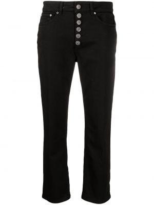 Прямые черные укороченные джинсы на пуговицах Dondup