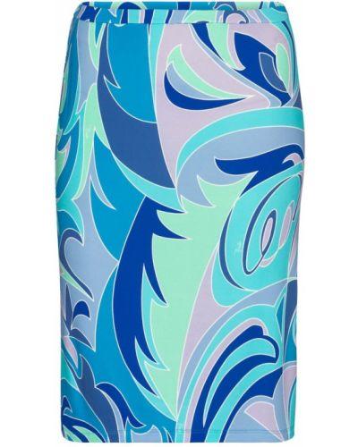 Трикотажная синяя юбка миди Emilio Pucci