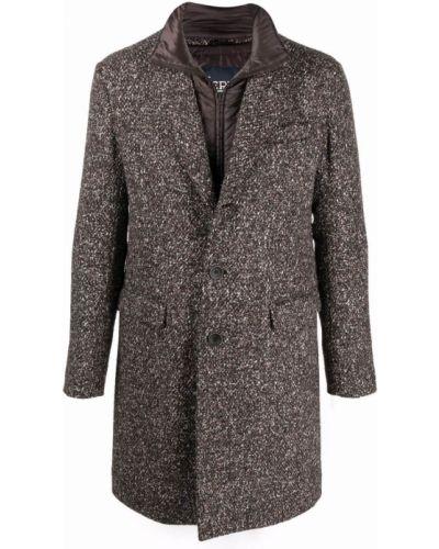 Коричневое длинное пальто Herno