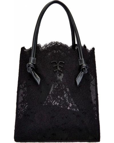 Деловая кожаная черная сумка шоппер Ermanno Scervino